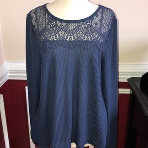 NWT Lucky Brand waffle knit top sz L